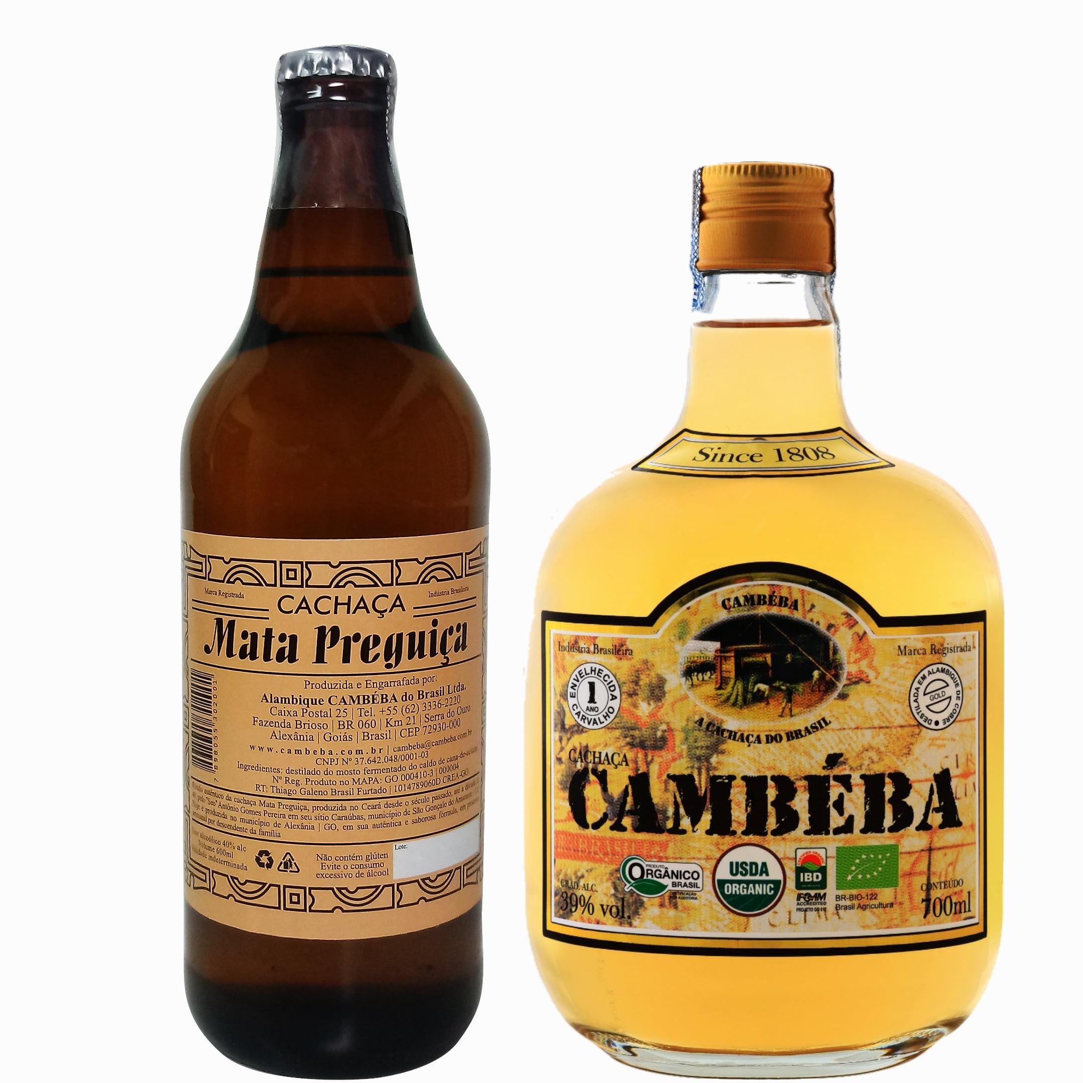 Kit Cachaça Mata Preguiça 600ml e Cambéba Envelhecida 700 ml