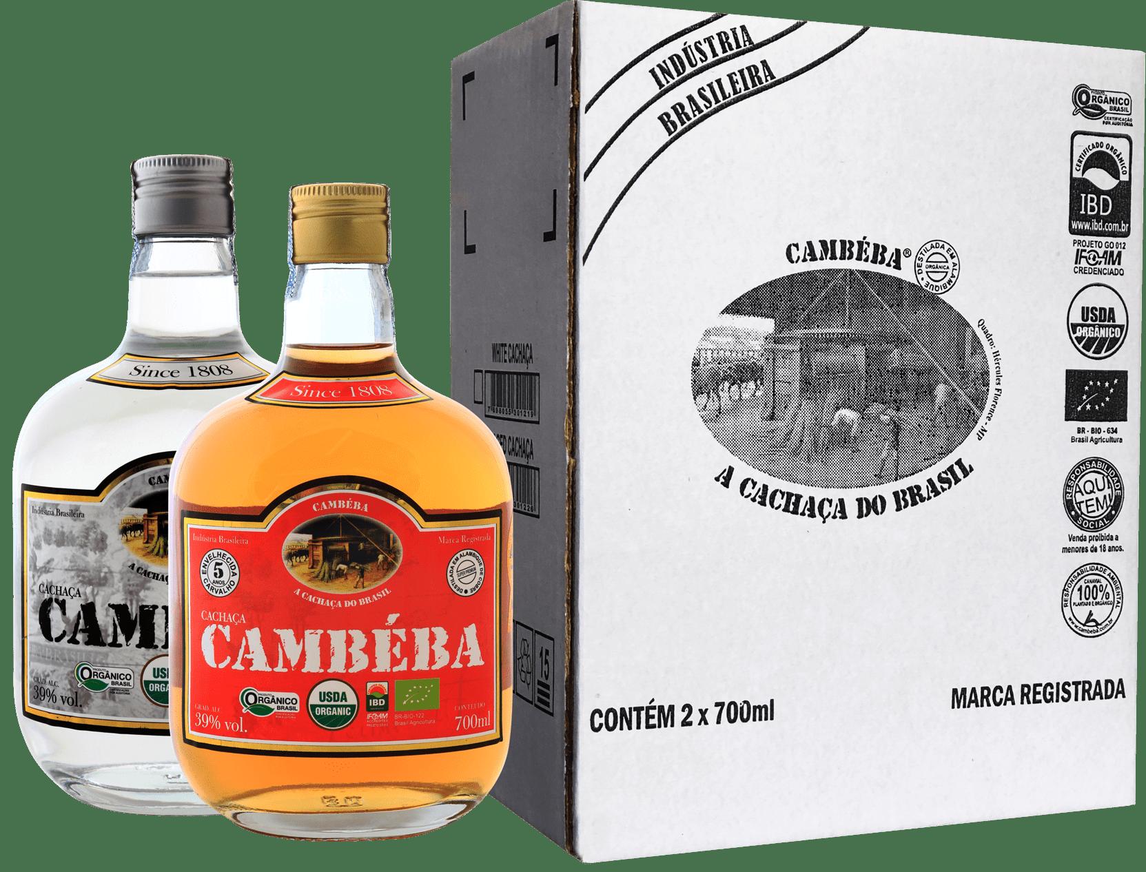 Kit cachaça Cambéba: 1 Premium + 1 Branca - 700 ml