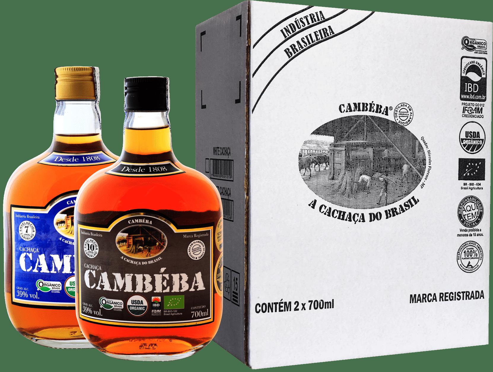Cachaça Cambéba Extra Premium 7 e 10 anos - 700ml - Kit | Empório Cachaça Canela-de-Ema